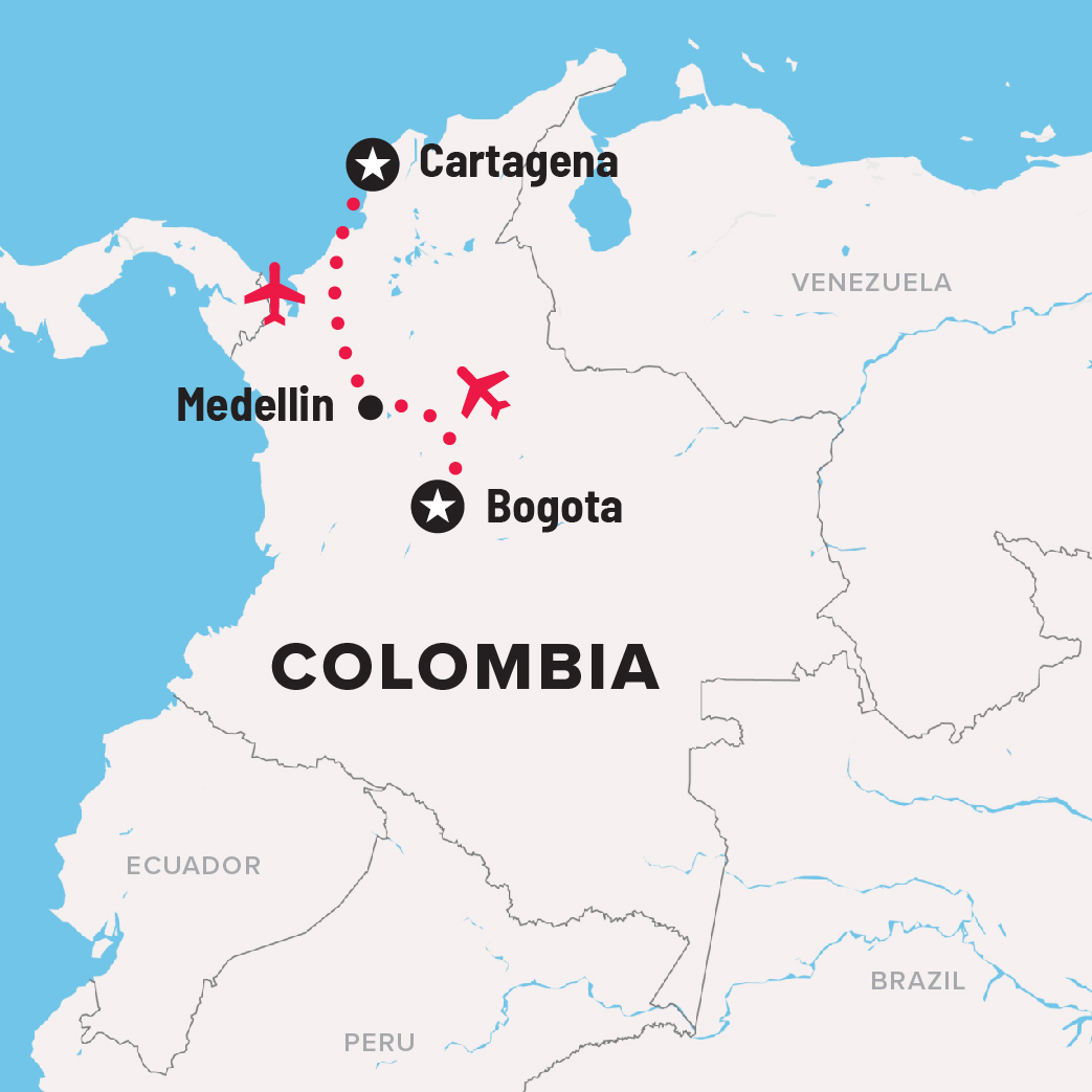 Colombia itinerary map